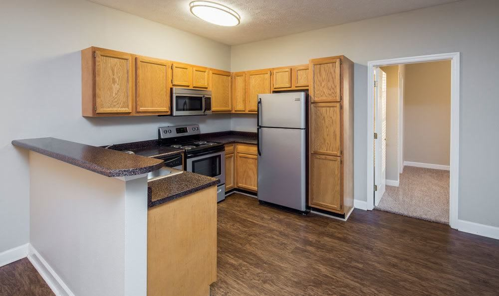 Ample kitchen area at Main Street Apartments home in Huntsville, Alabama