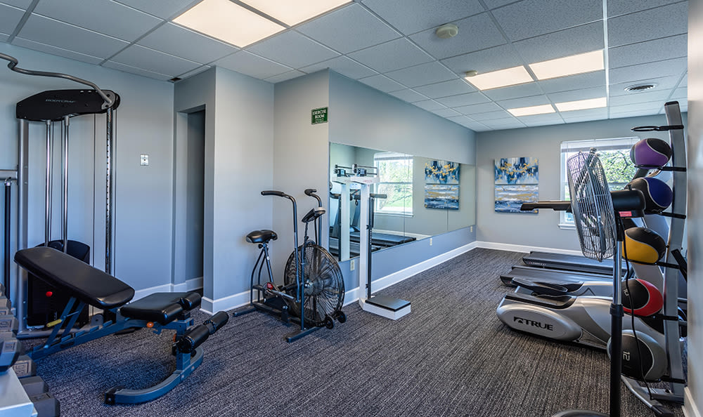 Fitness center at Maplewood Estates Apartments in Hamburg, New York