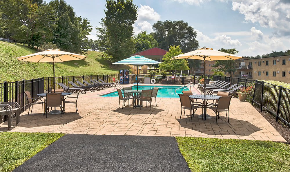 Poolside seating at Park Place of South Park in South Park, Pennsylvania