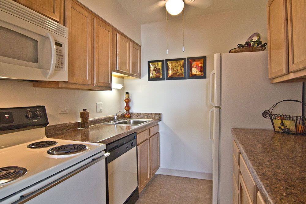 Bright, spacious kitchen at Park Towers Apartments in Richton Park, Illinois