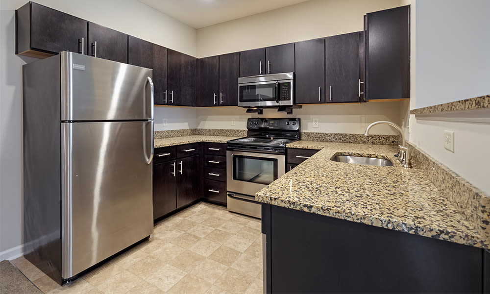 Modern kitchen at Reserve at Southpointe in Canonsburg, Pennsylvania