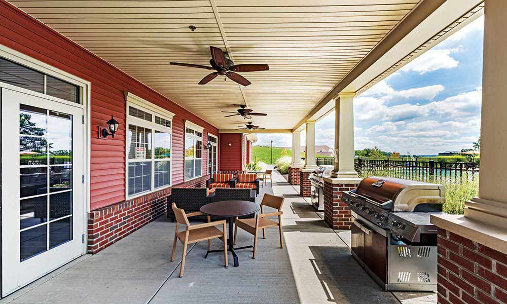 Outdoor BBQ lounge at Reserve at Southpointe in Canonsburg, Pennsylvania