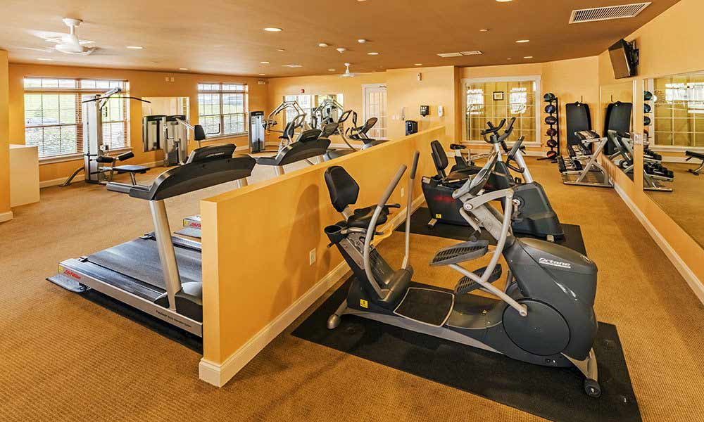 Fully equipped fitness center at Reserve at Southpointe in Canonsburg, Pennsylvania