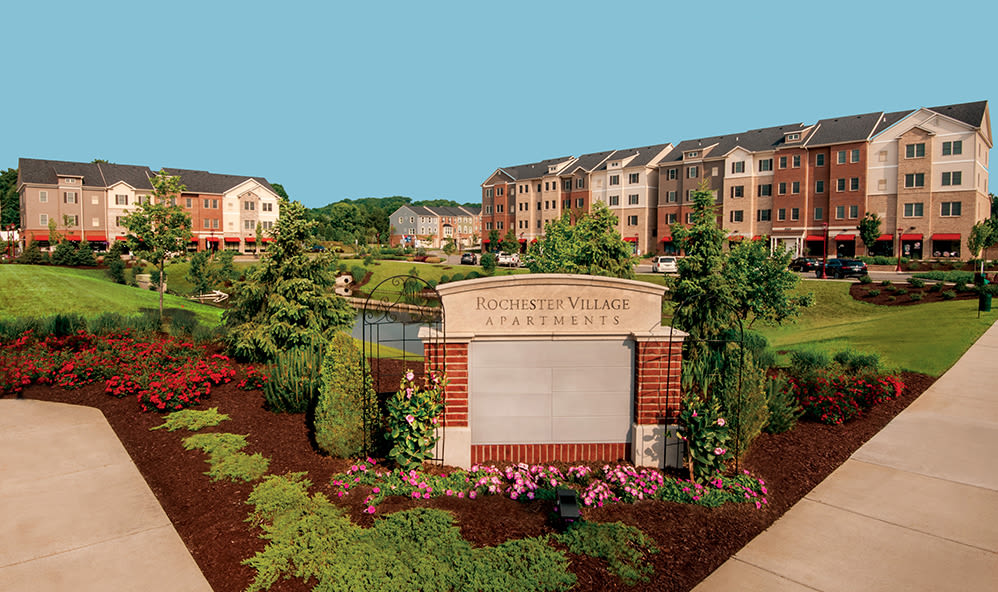 Sign to Rochester Village Apartments at Park Place in Cranberry Township, Pennsylvania