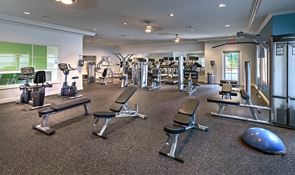 Modern fitness center at Rochester Village Apartments at Park Place in Cranberry Township, Pennsylvania