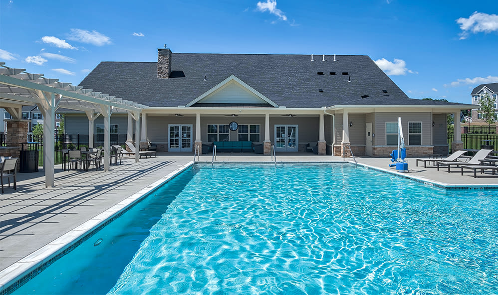 Sparkling swimming pool at Rochester Village Apartments at Park Place in Cranberry Township, Pennsylvania
