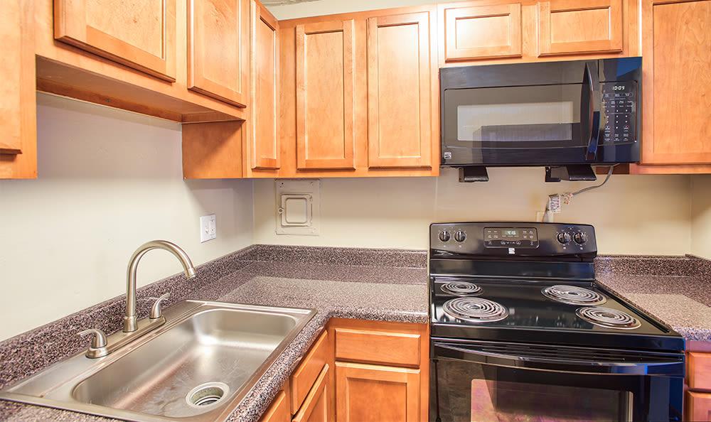 Cozy kitchen at Solon Club Apartments in Oakwood Village, Ohio