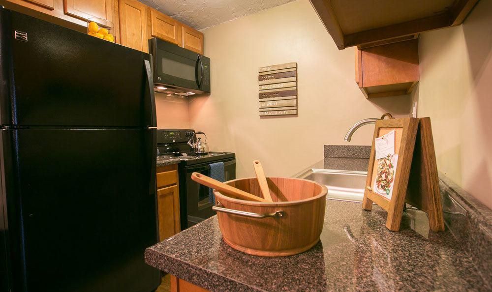 Bright kitchen at Solon Club Apartments in Oakwood Village, Ohio