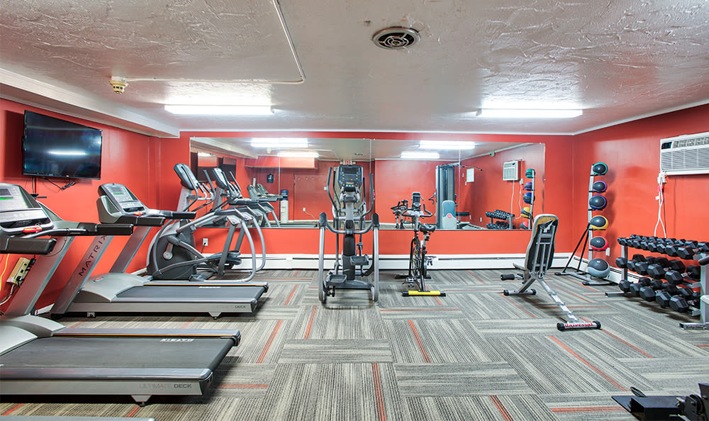 Spacious fitness center at Solon Club Apartments in Oakwood Village, Ohio