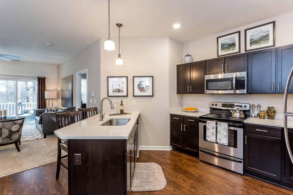 Bright ,fully-equipped kitchen at The Links at CenterPointe Townhomes in Canandaigua, New York