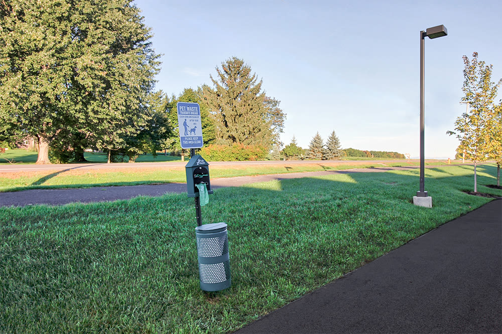 Pet waste station at lThe Links at CenterPointe Townhomesin Canandaigua, New York