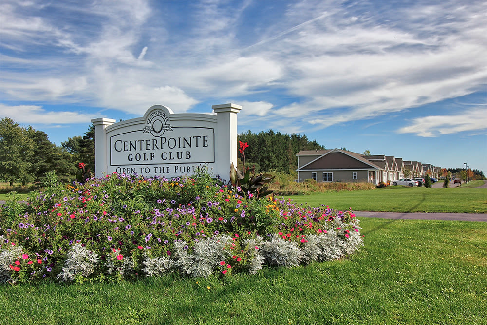 Entrance sign at The Links at CenterPointe Townhomes in Canandaigua, New York