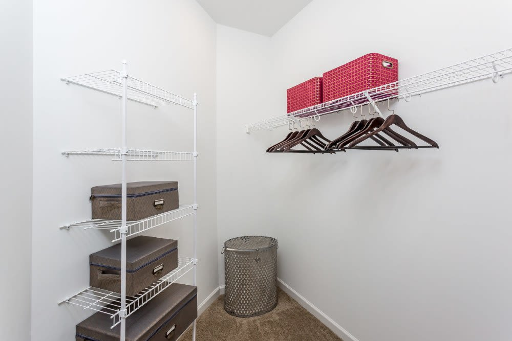 Walk-in closet at The Links at CenterPointe Townhomes home in Canandaigua, New York