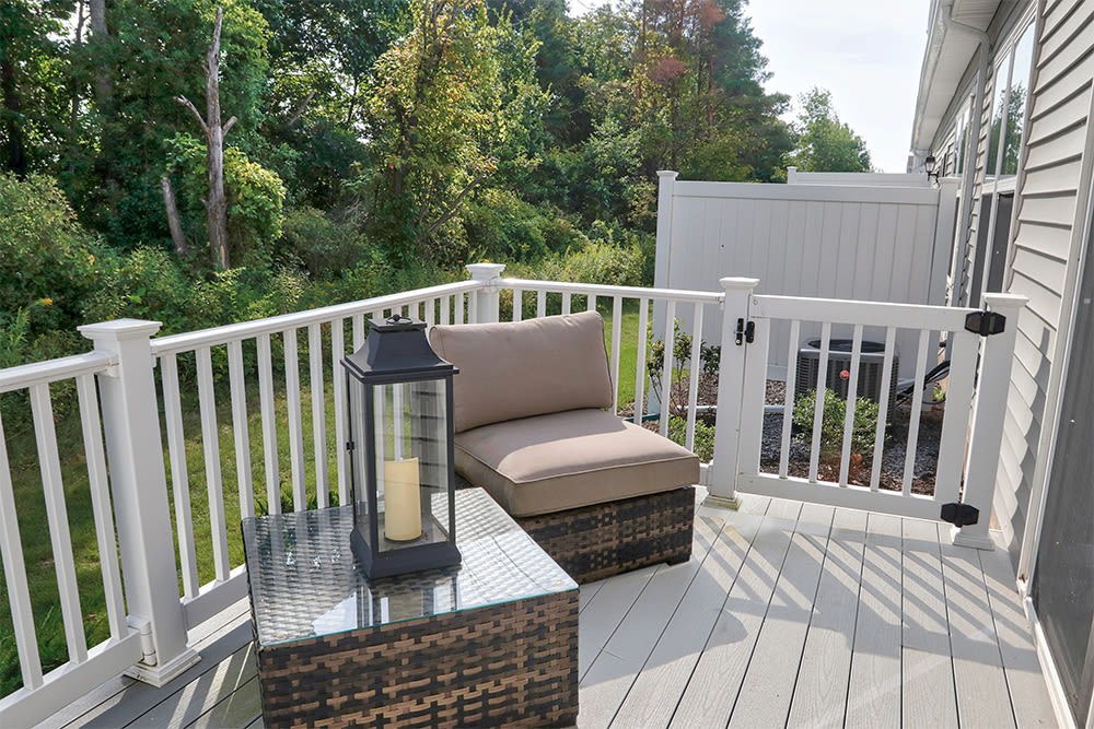 Beautiful private patio at The Links at CenterPointe Townhomes in Canandaigua, New York