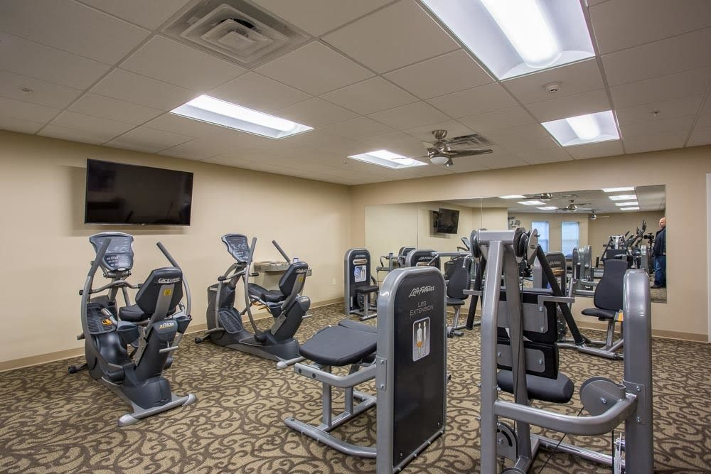 Modern fitness center at The Marquis at the Woods in Webster, New York