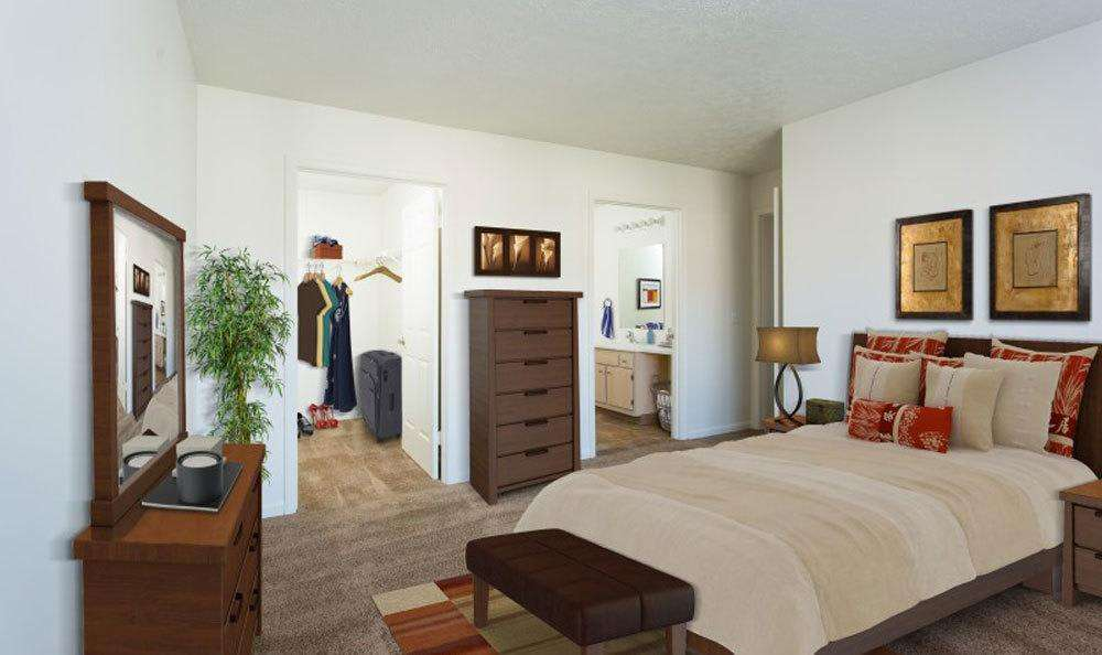 Luxury bedroom at Westview Commons Apartments in Rochester, New York