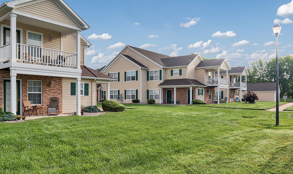 Lush lawns at Westview Commons Apartments in Rochester, New York