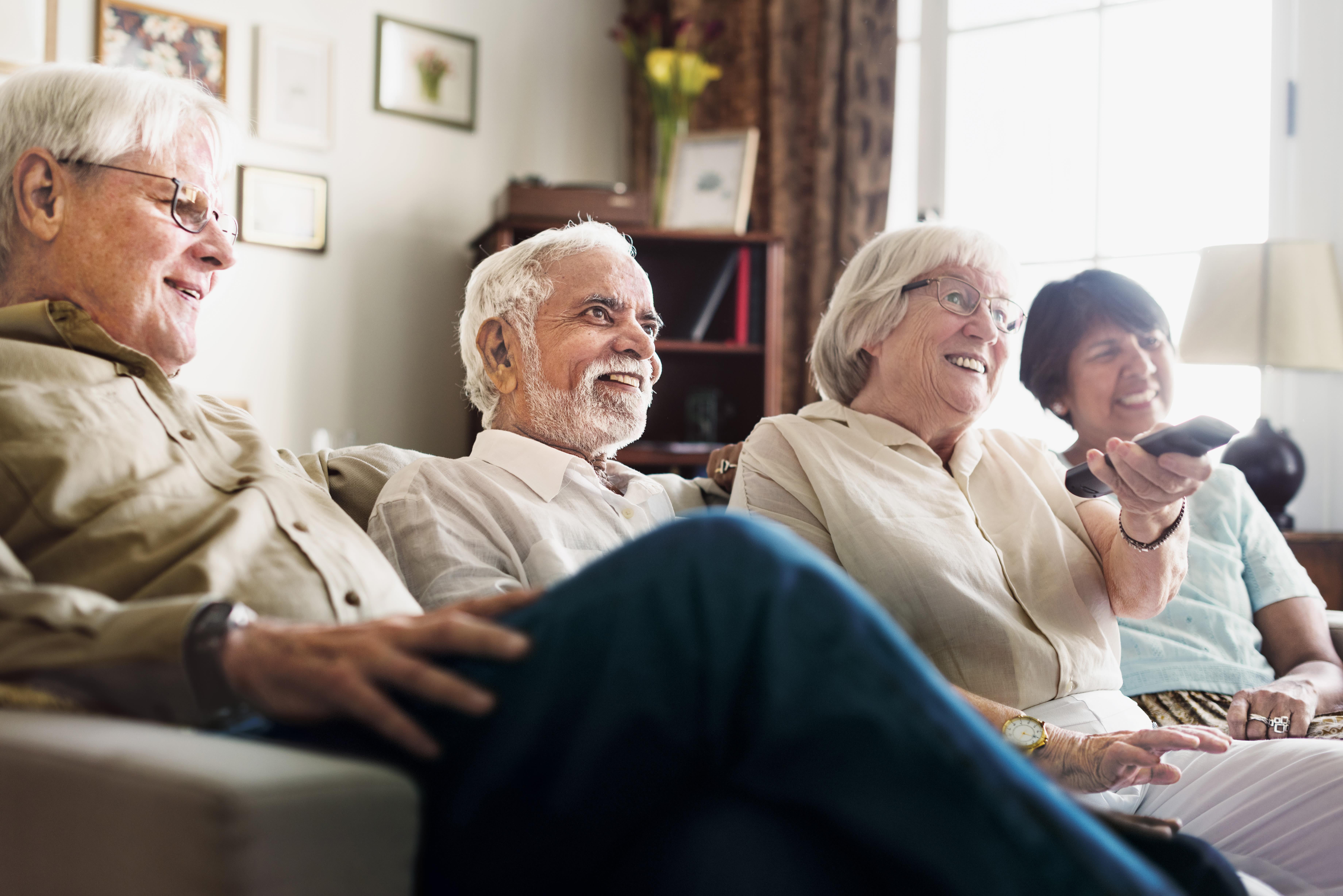 Seniors having a dinner gathering at Anthology of Northville in Northville, Michigan