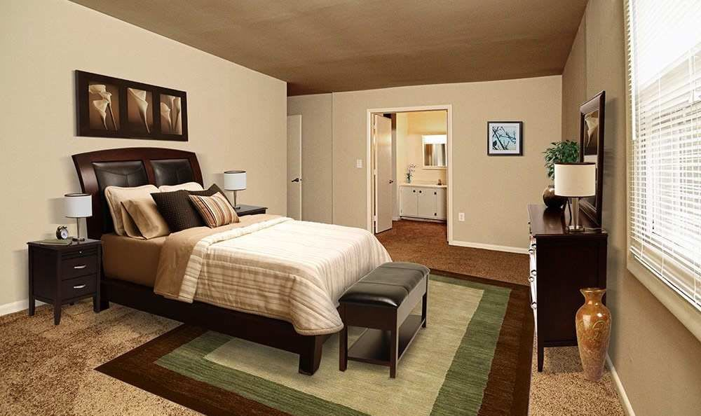 Well decorated bedroom at The Village of Laurel Ridge & The Encore Apartments & Townhomes in Harrisburg, Pennsylvania