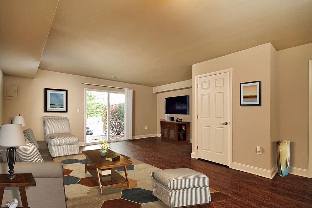 Spacious living area at The Village of Laurel Ridge & The Encore Apartments & Townhomes in Harrisburg, Pennsylvania