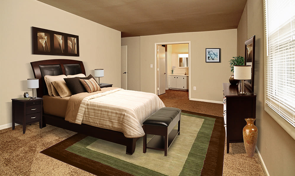 Spacious bedroom at The Village of Laurel Ridge & The Encore Apartments & Townhomes in Harrisburg, Pennsylvania