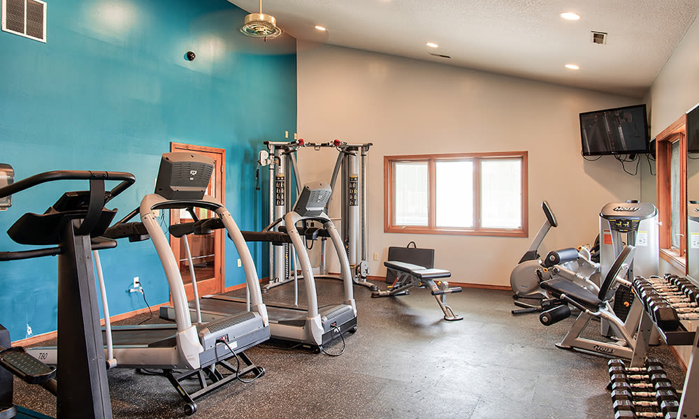 Spacious fitness center at The Summit at Ridgewood in Fort Wayne, Indiana