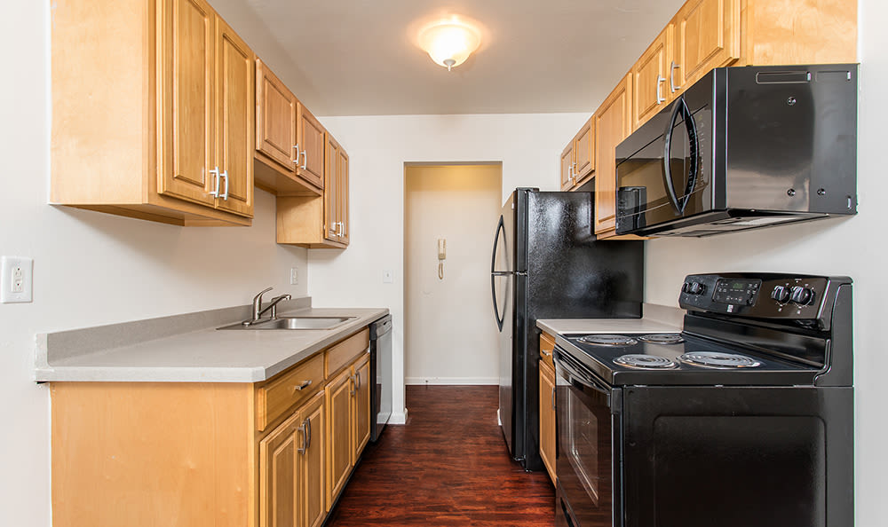 Bright kitchen at Lake Vista Apartments in Rochester, New York