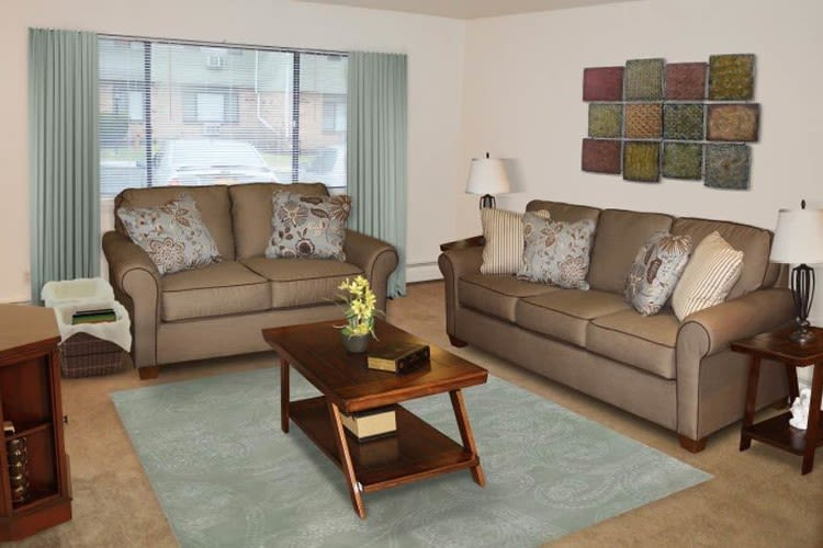 Cozy living room at Lake Vista Apartments in Rochester, New York