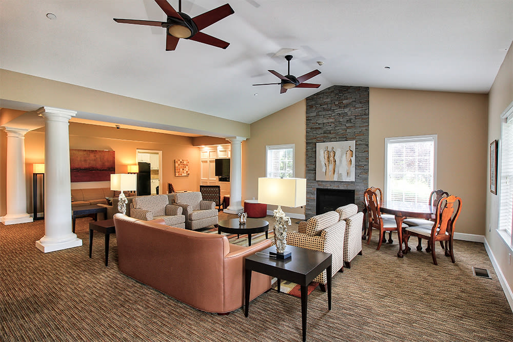 Clubhouse seating at Oakmonte Apartments in Webster, New York