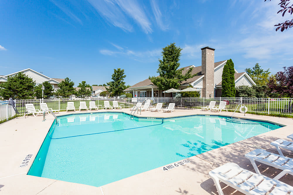 Swimming pool at Oakmonte Apartments in Webster, New York