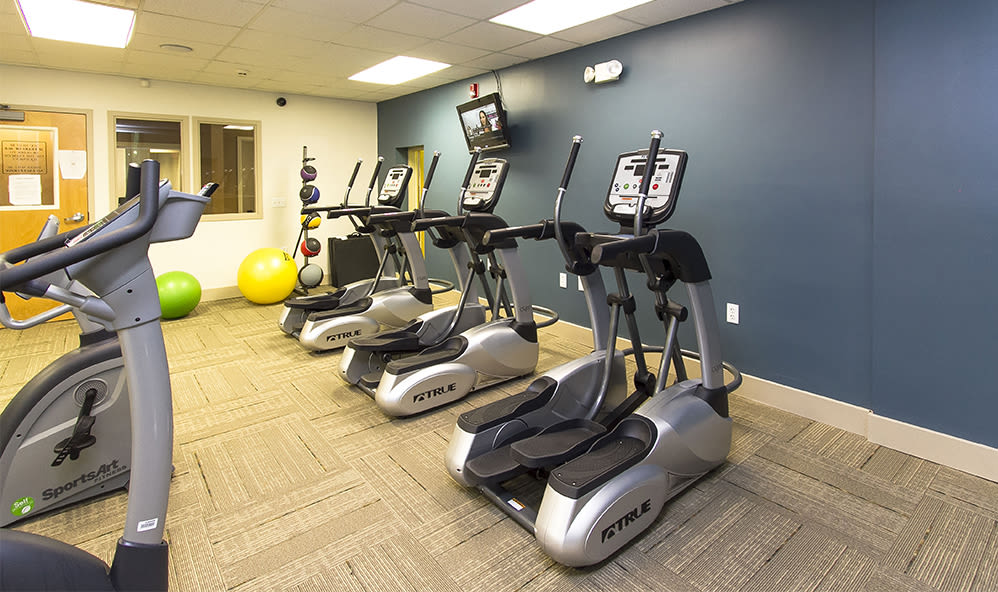 Fitness center at Raintree Island Apartments in Tonawanda, New York