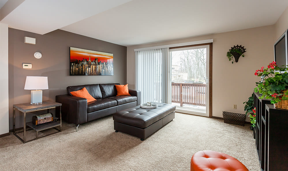 Spacious living room at Raintree Island Apartments in Tonawanda, New York