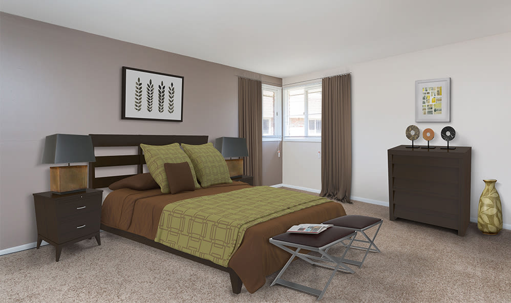 Beautifully designed bedroom at Raintree Island Apartments in Tonawanda, New York