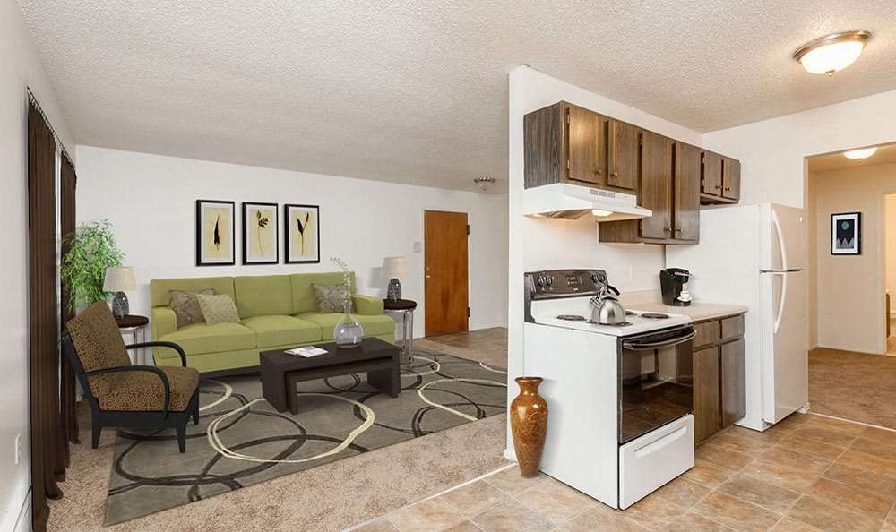 Open floor plan at Parkway Manor Apartments in Irondequoit, New York