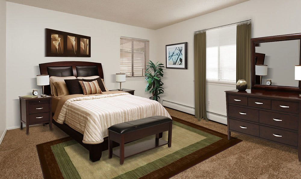Master bedroom at Parkway Manor Apartments in Irondequoit, New York