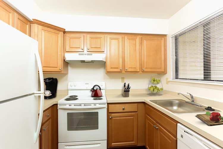 Fully equipped kitchen at Penbrooke Meadows in Penfield, New York