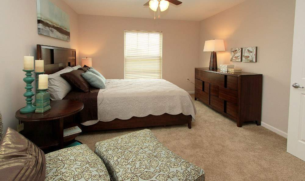 Beautifully designed bedroom at Preserve at Autumn Ridge in Watertown, New York