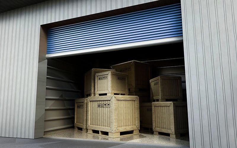 garage with crates