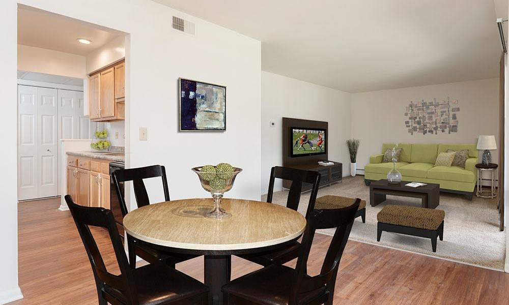 Spacious dining room at Steeplechase Apartments in Camillus, New York