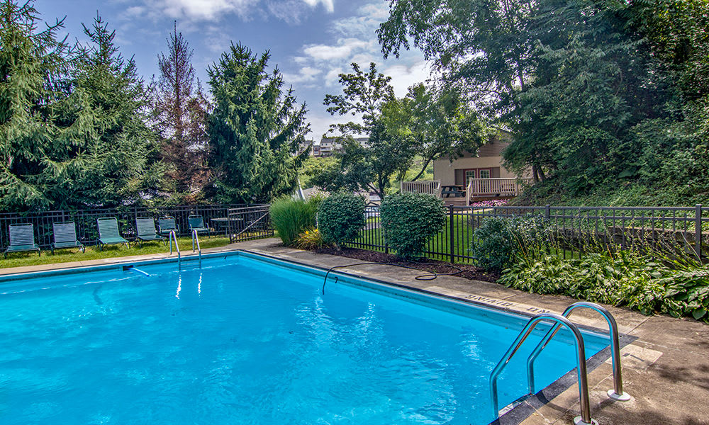 Swimming pool at The Cascades Townhomes and Apartments in Pittsburgh, Pennsylvania