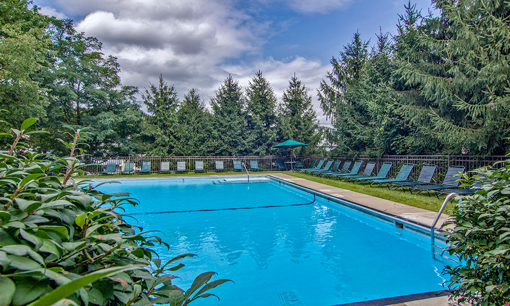 Beautiful swimming pool at The Cascades Townhomes and Apartments in Pittsburgh, Pennsylvania