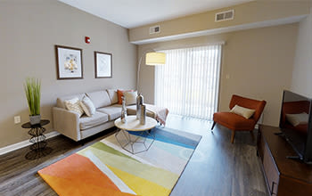 Virtual tour of a two bedroom apartment at The Landings at Meadowood in Baldwinsville, New York