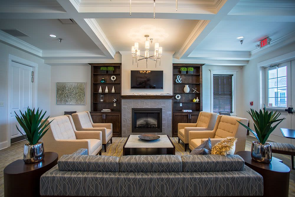 Beautiful living room area in clubhouse at The Landings at Meadowood in Baldwinsville, New York