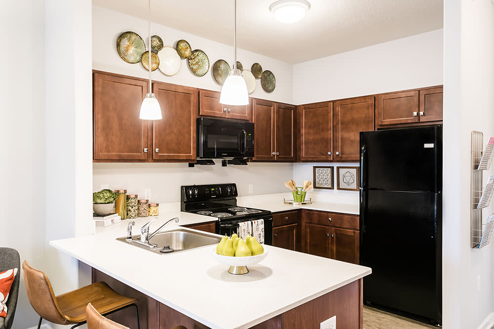 Modern kitchen at Villa Capri Senior Apartments in Rochester, New York