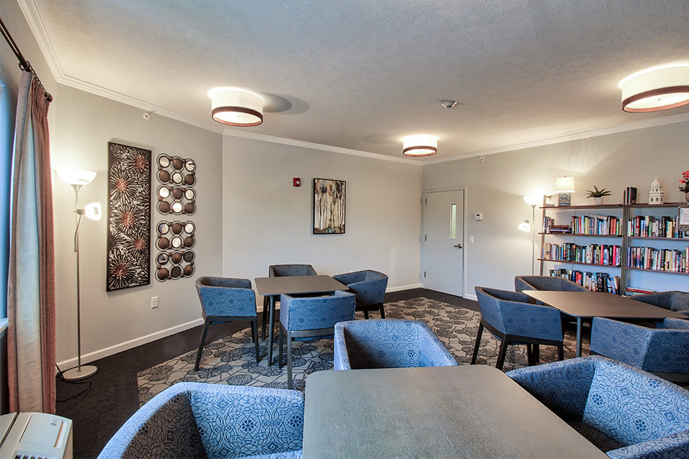 Library at Villa Capri Senior Apartments in Rochester, New York