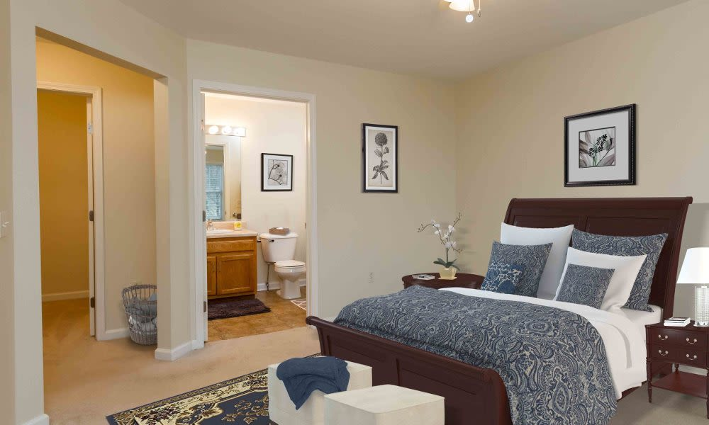Cozy bedroom at Regency & Victor Villas Apartments in Victor, New York