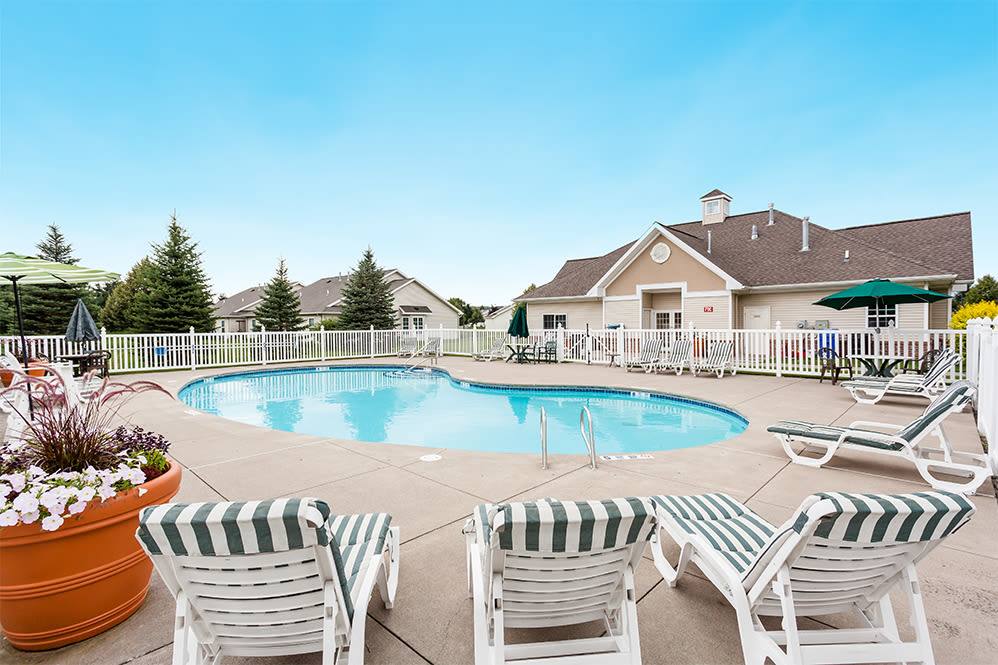 Sparkling swimming pool at Regency & Victor Villas Apartments in Victor, New York