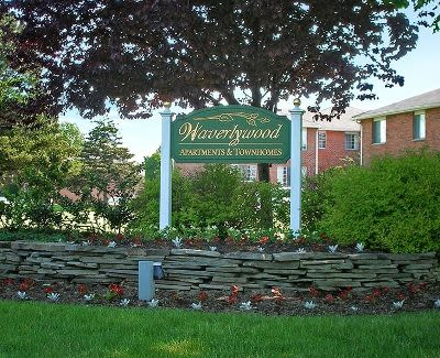 Signage for Waverlywood Apartments & Townhomes in Webster, New York