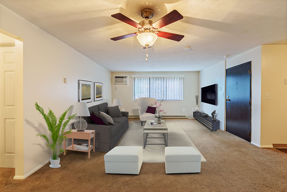 Spacious living room at Westpointe Apartments in Pittsburgh, Pennsylvania