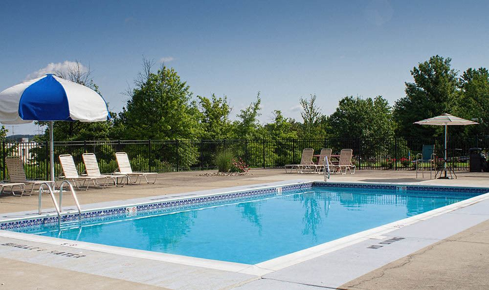 Sparkling swimming pool at Westpointe Apartments in Pittsburgh, Pennsylvania